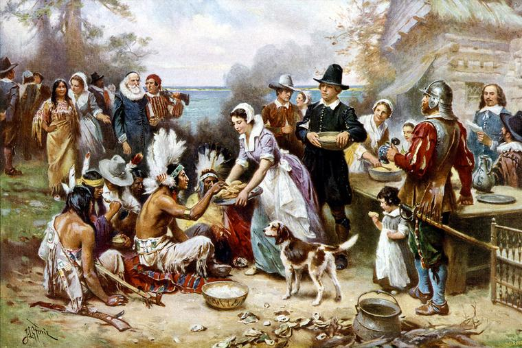 "Jean Leon Gerome Ferris, ""The First Thanksgiving,"" c. 1915"