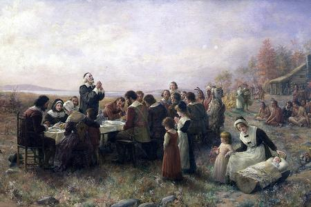 """Jennie Augusta Brownscombe, """"The First Thanksgiving at Plymouth,"""" 1914"""
