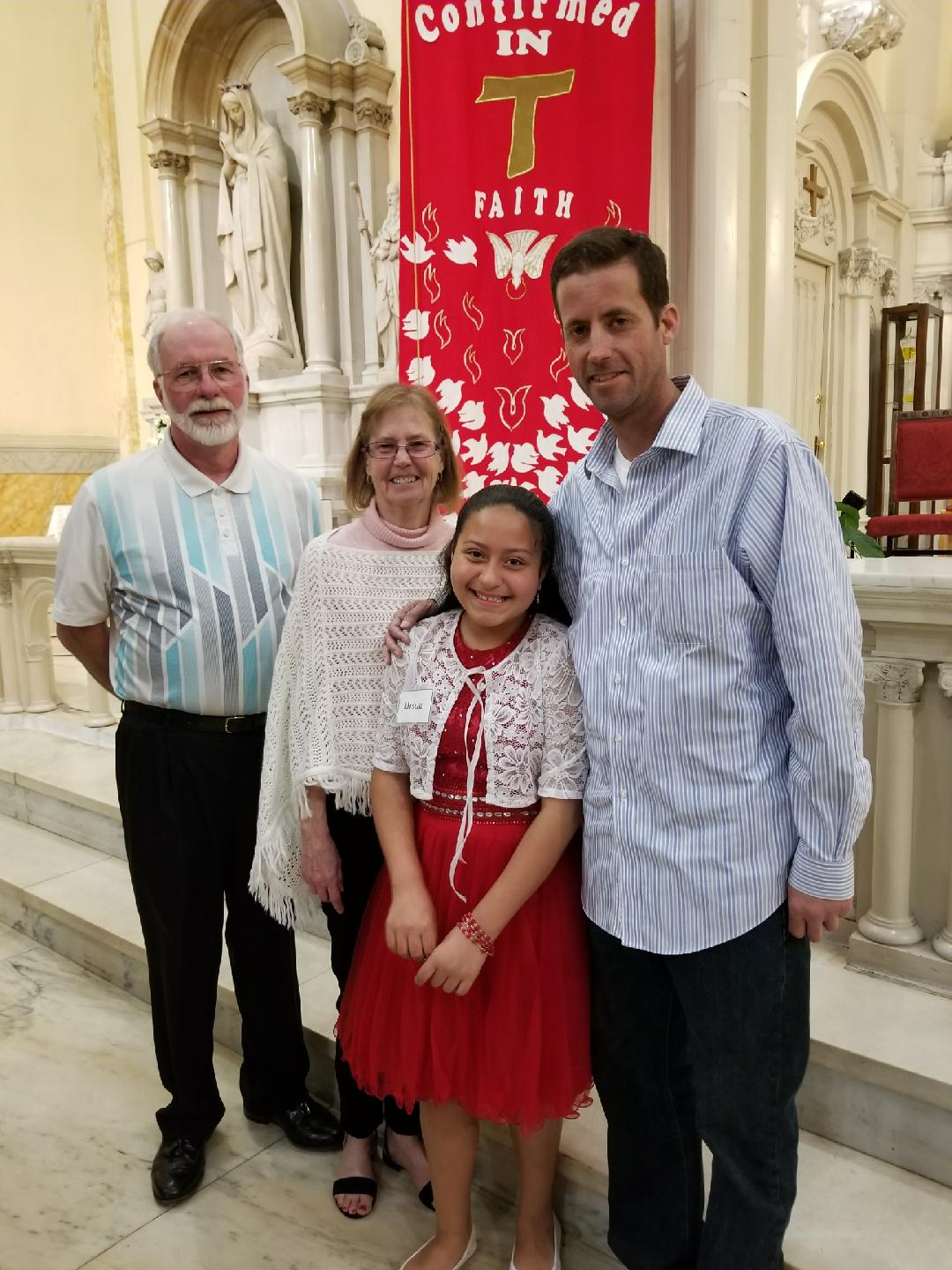 Scott Collier and his parents at Neveah's confirmation