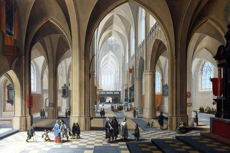 """Pieter Neeffs and Frans Francken the Younger, """"The Interior of a Gothic Cathedral,"""" early 17th century"""