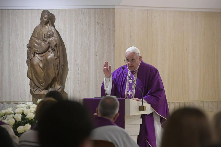 Pope Francis celebrates daily Mass during Advent in the chapel of the Casa Santa Martha inside the Vatican on Dec. 16, 2019.
