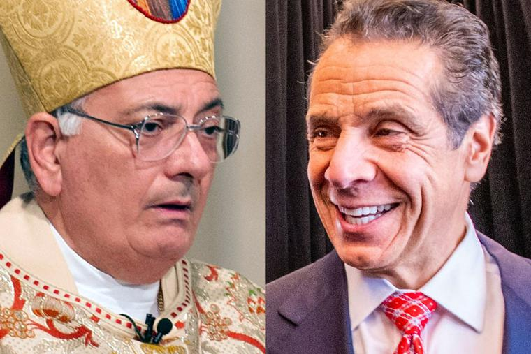 LEFT: Brooklyn Bishop Nicholas DiMarzio in 2012 [U.S. Army Photo by Staff Sgt. Teddy Wade/Released]. RIGHT: New York Governor Andrew Cuomo in 2019 [CC BY 2.0/Chris Rank for Rank Studios/Flickr/Wikimedia Commons].