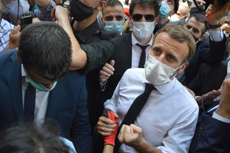 French President Emmanuel Macron visiting the Lebanese people after the Beirut explosion on August 6, 2020.