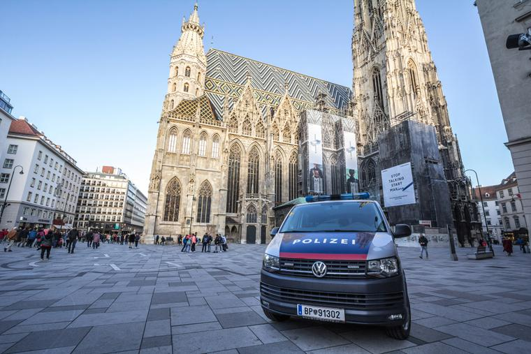 Austrian police car guarding St. Stephen's Cathedral in Vienna.
