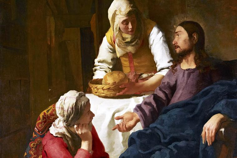 """Martha, Martha, you are anxious and worried about many things. There is need of only one thing. Mary has chosen the better part and it will not be taken from her."" (Luke 10:41-42) — Johannes Vermeer, ""Christ in the House of Martha and Mary,"" ca. 1655"