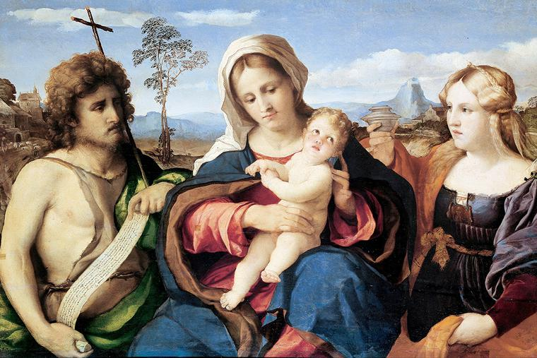 "Palma Vecchio, ""Madonna and Child with Saint John the Baptist and Magdalene,"" c. 1521"