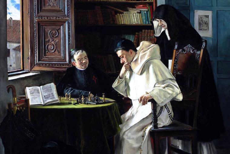 """Joaquín María Herrer y Rodríguez, """"Checkmate,"""" 1887"""