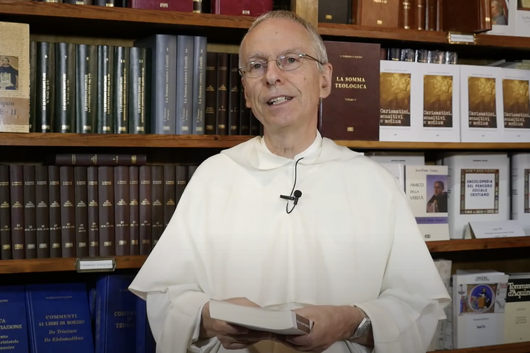 Father François-Marie Dermine, an exorcist, speaks at the Meeting of Rimini in 2015. His new book explains the devil's existence and his activity.