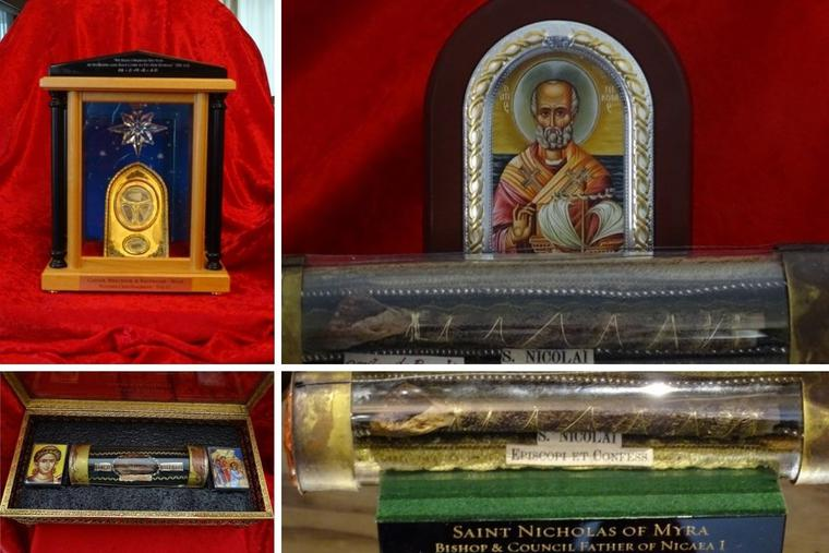 Father Joseph Marquis, pastor of Sacred Heart Byzantine Church that houses the shrine in Livonia, Michigan, has amassed quite the collection of saints' relics. The collection includes, clockwise from top left, the Christmas crib of Jesus and bones of the Wise Men, St. Nicholas and St. Stephen.