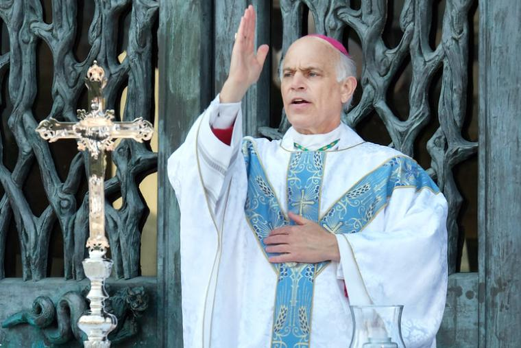 Archbishop Salvatore Cordileone celebrates Mass on the Cathedral Plaza in San Francisco on Aug. 22.