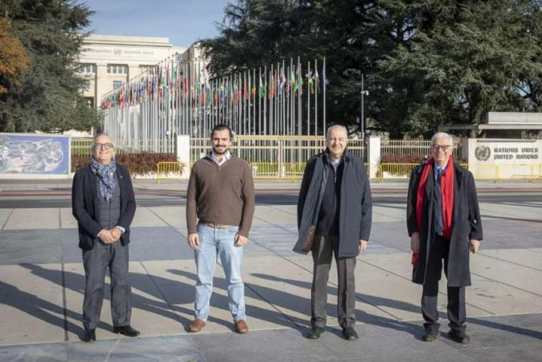 The challengers to the ban on public worship in the Swiss canton of Geneva standing outside the United Nations Headquarters.
