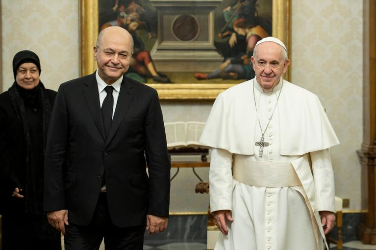 Pope Francis received in a private audience President Barham Saleh of the Republic of Iraq at the Vatican on Jan. 25. 2020.