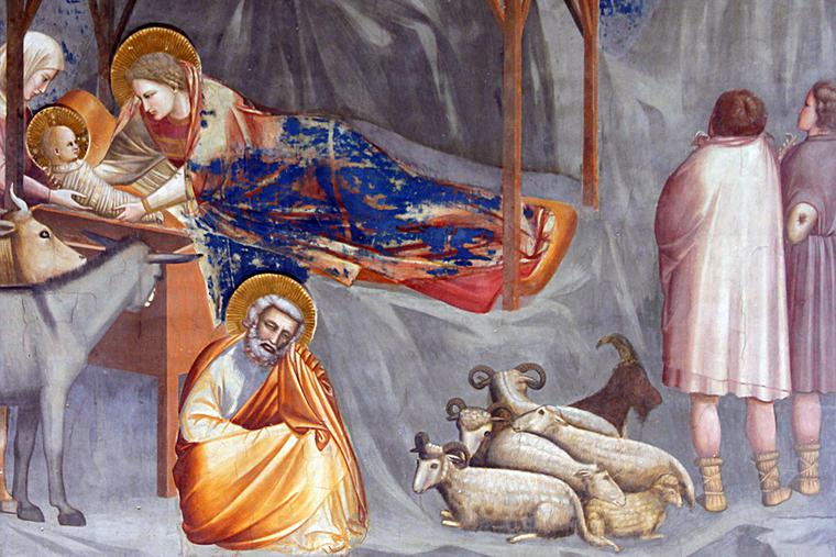 """Giotto di Bondone, """"The Nativity of Jesus"""" [Scrovegni Chapel, Padua], 1303"""