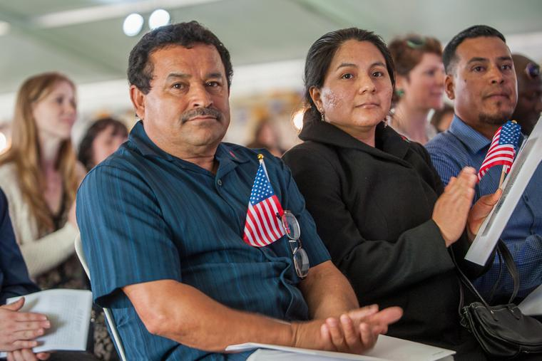 Forty-eight immigrants from twenty countries took part in a naturalization ceremony May 5, 2016 at Tom McCall Waterfront Park in Portland, Oregon.