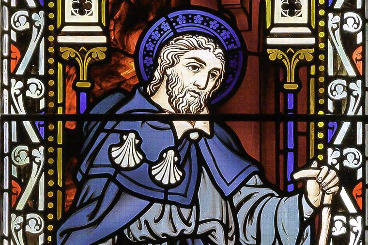 Stained-glass image of Blessed Thaddeus at St. Colman's Cathedral