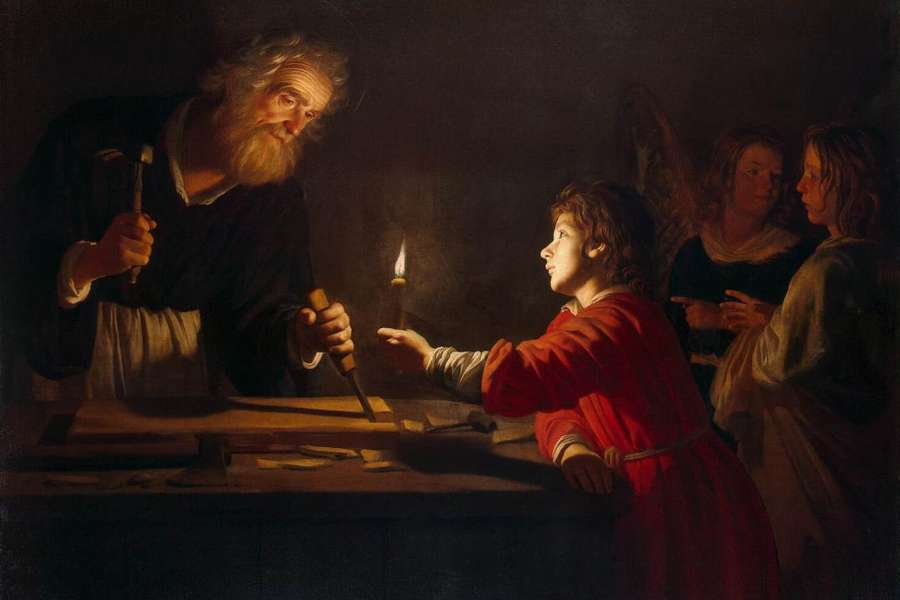 The Childhood of Christ, by  Gerard van Honthorst  (1592–1656). Public domain.