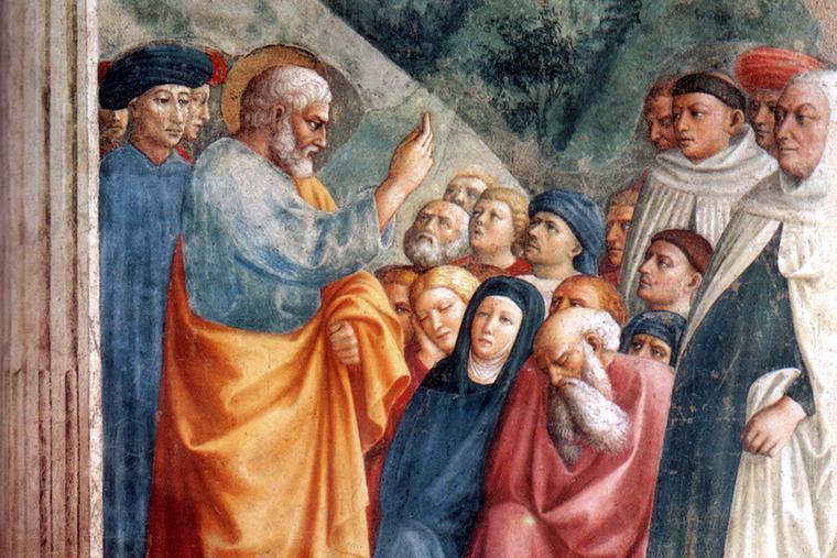 "Masolino da Panicale, ""St. Peter Preaching the Good News,"" c. 1427"