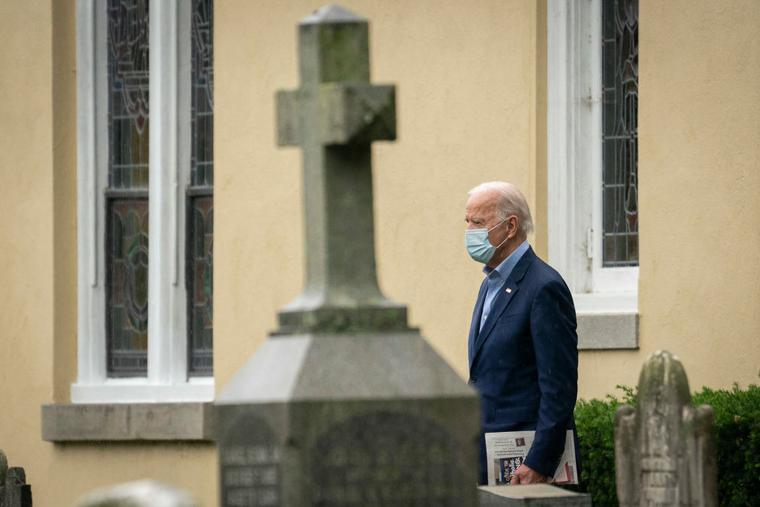 Democratic presidential nominee Joe Biden leaves St. Joseph on the Brandywine Roman Catholic Church after Sunday mass on November 01, 2020 in Wilmington, Delaware.