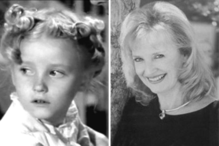 Karolyn Grimes portraying young Bailey in 1946 (L) alongside a recent photo of the actress.