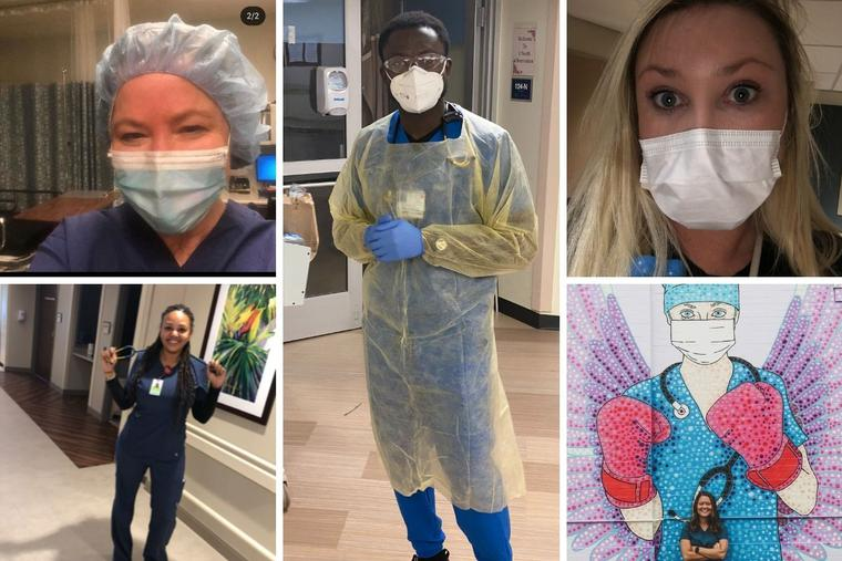 Clockwise from top left: Lisa Cooper, Isaac Kissi, Jennifer O'Neill, Shaye Evers and  Aliyah Hofman are on the front lines of the pandemic.