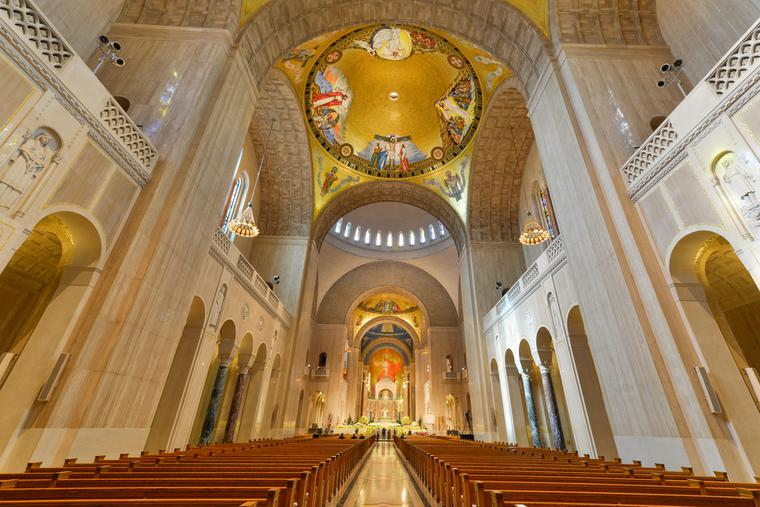 Interior details of Basilica of the National Shrine of the immaculate Conception. The Basilica is the largest Roman Catholic church in the US and North America.