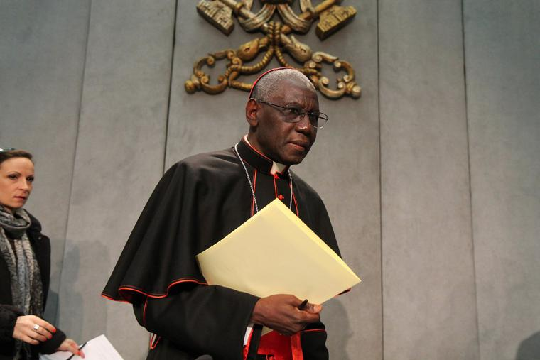 Cardinal Robert Sarah, prefect of the Congregation for Divine Worship and the Discipline of the Sacraments, at a press briefing on the Homiletic Directory, in the Vatican Press Office on February 10, 2015.