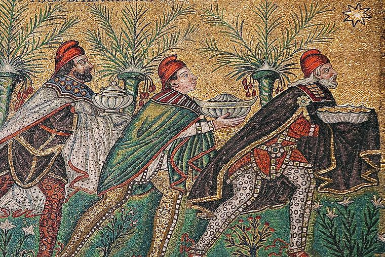 Byzantine depiction of the Magi in a sixth-century mosaic at the Basilica of Sant'Apollinare Nuovo in Ravenna, Italy.