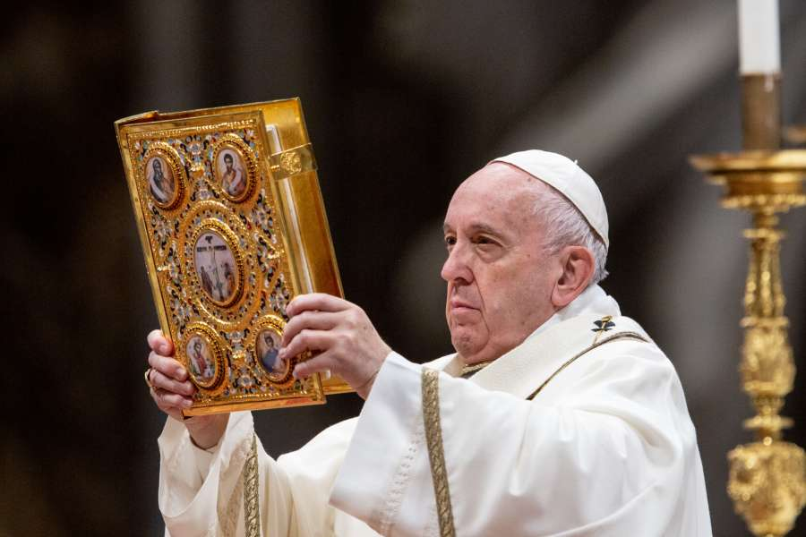 Pope Francis celebrates Mass in St. Peter's Basilica on Jan. 6, 2020.