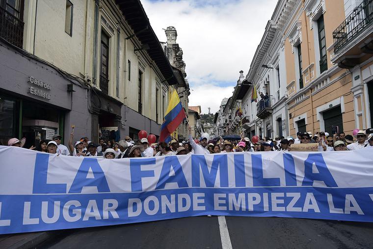 People demonstrate against same-sex marriage in Quito, Ecuador, on June 29, 2019. Ecuador's highest court approved same-sex marriage in a landmark ruling last June 12 in the traditionally Catholic nation. RODRIGO BUENDIA