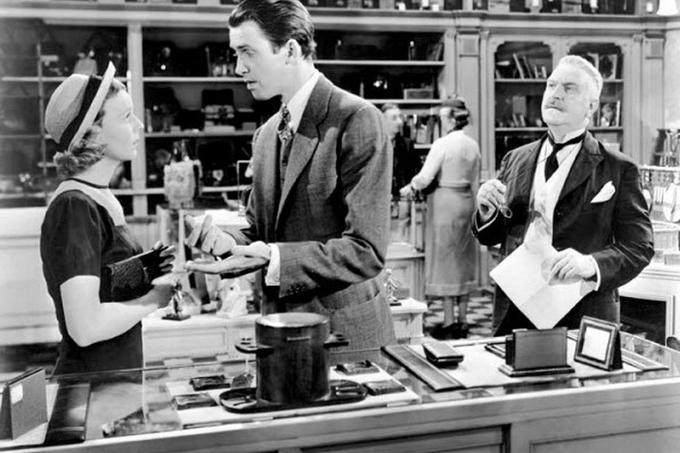Margaret Sullavan, James Stewart and Frank Morgan star in 'The Shop Around the Corner.'