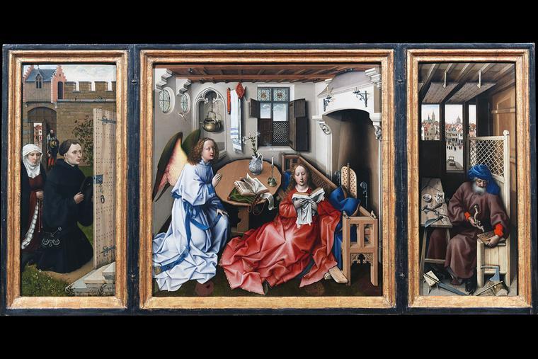 """Robert Campin, """"Mérode Altarpiece,"""" c. 1430"""
