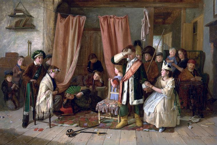 "Charles Hunt, ""Children Acting the 'Play Scene' from 'Hamlet' (Act III, Scene 2),"" 1863"