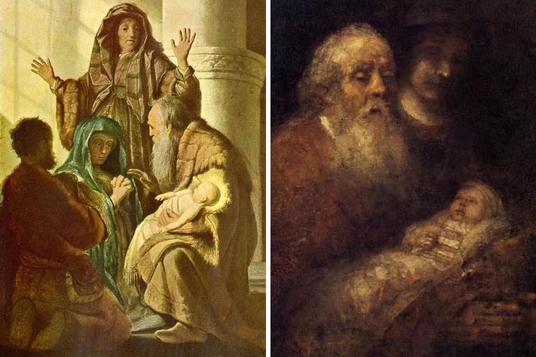 """Rembrandt's """"Presentation"""" of 1627 (left) and 1669 (right)"""