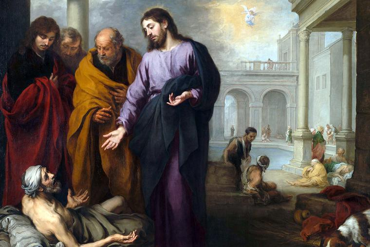 """Bartolomé Esteban Murillo, """"Christ Healing the Paralytic at the Pool of Bethesda,"""" c. 1668"""