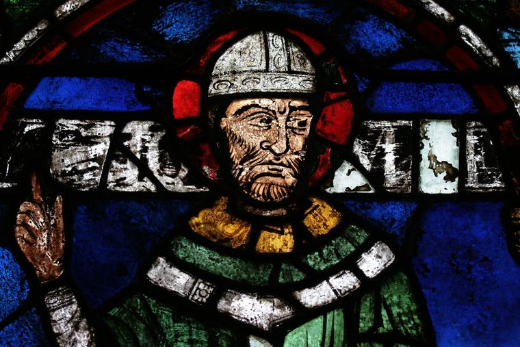 Portrait of St. Thomas Becket, reassembled from fragments by Samuel Caldwell Jr in 1919.