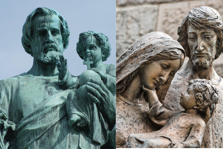 (L) Statue of St. Joseph alongside a statue of the Holy Family,