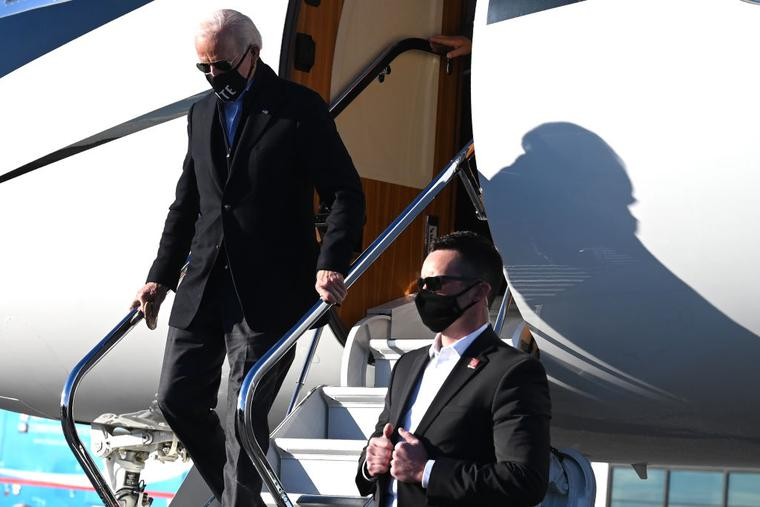 President-elect Joe Biden arrives in Atlanta, Georgia, on January 4, 2021.