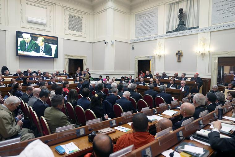 A general view of the 'Protect the Earth, Dignify Humanity' workshop held at the Pontifical Academy of Sciences at the Vatican's Casina Pio IV on April 28, 2015.