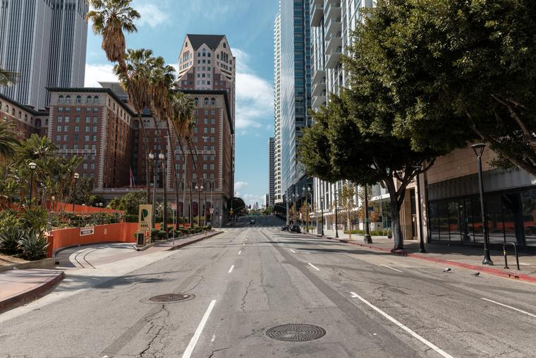 Empty streets in Downtown Los Angeles cause the coronavirus pandemic