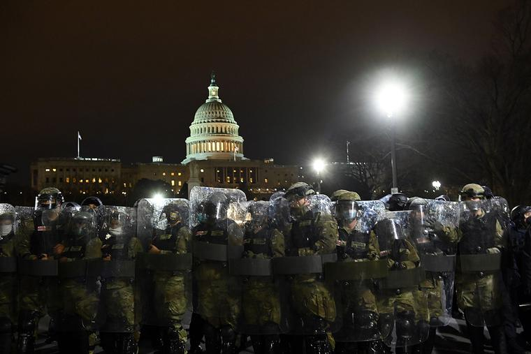 Riot police prepare to move demonstrators away from the U.S. Capitol in Washington, D.C. on Jan. 6, 2021.