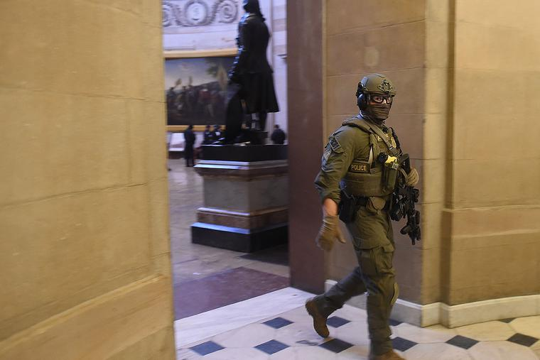A Capitol Police SWAT team member patrols the U.S. Capitol in Washington, D.C., on Wednesday.