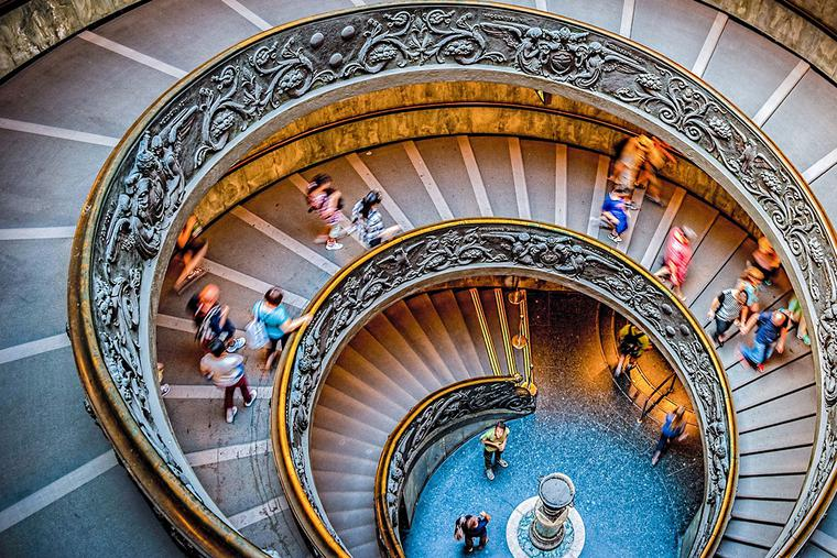 Spiral staircase at the Vatican Museums