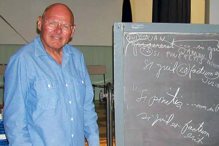 Father Reginald Foster teaches his free summer Latin class in Rome, July 5, 2001.
