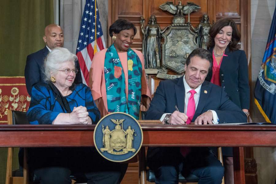 Governor Andrew Cuomo signs the Reproductive Health Act during a ceremony at the New York State Capitol in Albany, Jan. 22, 2019.