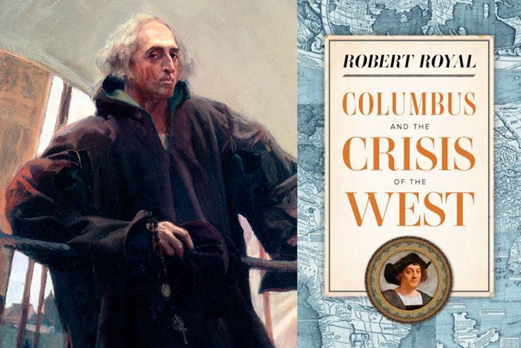 "LEFT: Joaquín Sorolla, ""Christopher Columbus Leaving Palos,"" c. 1910. RIGHT: Book cover."