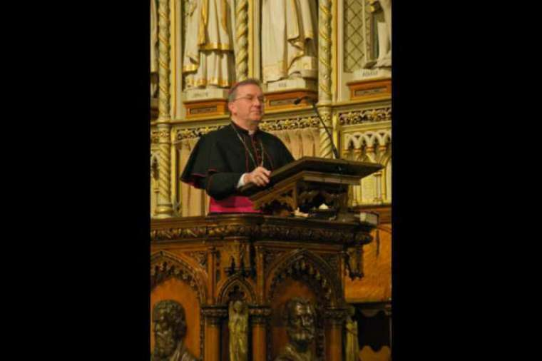 Archbishop Luigi Ventura, then apostolic nuncio to Canada, speaks at a Mass and Concert held in Ottawa, April 2, 2009.