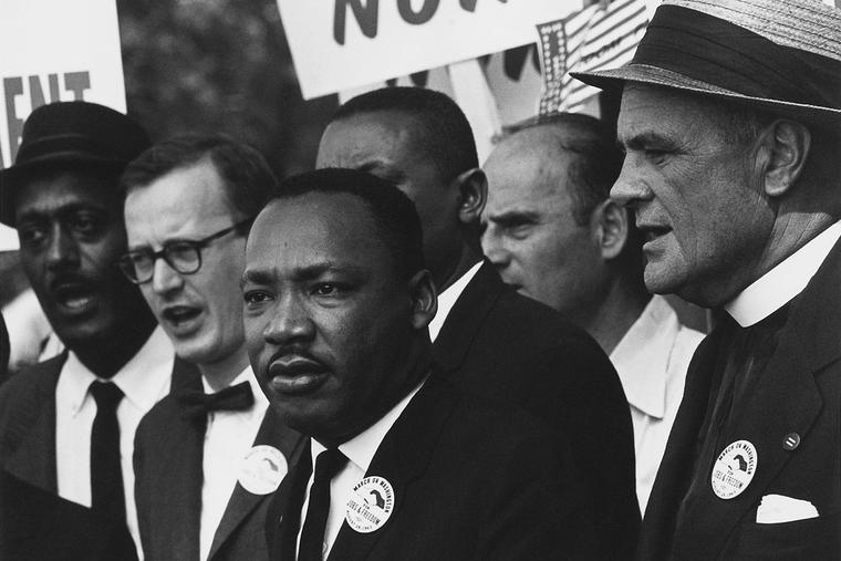 """Martin Luther King Jr. during the 1963 March on Washington for Jobs and Freedom, during which he delivered his historic """"I Have a Dream"""" speech, calling for an end to racism."""