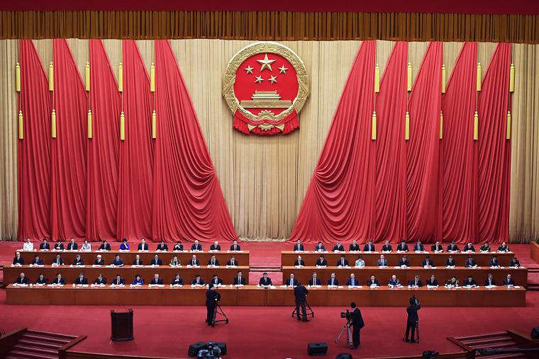 Chinese President Xi Jinping delivers a speech at the Great Hall of the People in Beijing on Sept. 8.