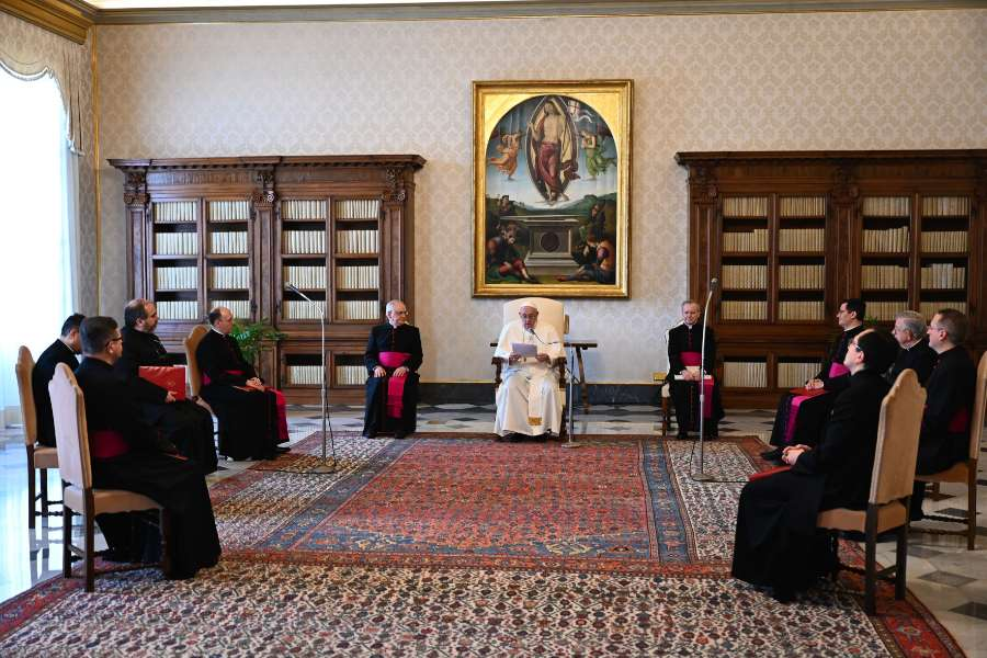 Pope Francis delivers his general audience address in the library of the Apostolic Palace Jan. 20, 2021.