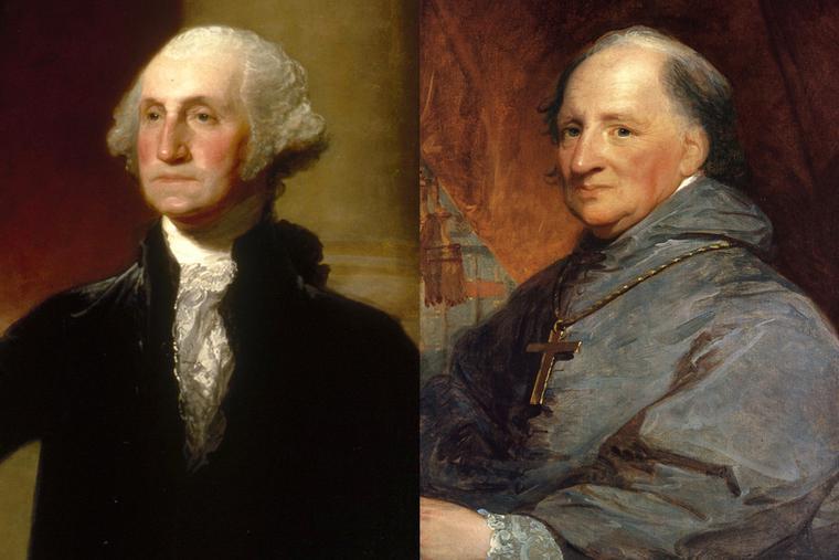 "Gilbert Stuart, ""George Washington (Landsdowne Portrait),"" 1796, and ""Archbishop John Carroll,"" c. 1806"